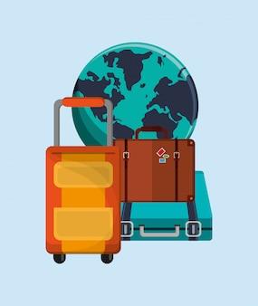 Globo della terra con l'immagine di icone di viaggio di vacanza