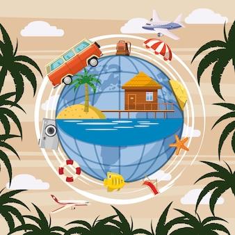Globo di concetto di turismo di viaggio. sfondo