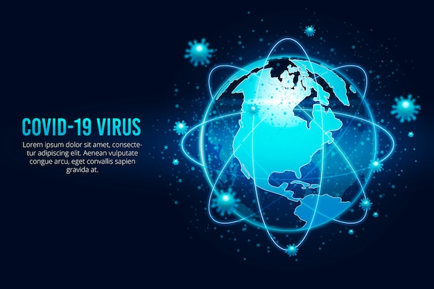 Globo di coronavirus circondato da virus