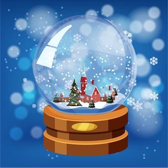 Globo di neve con neve splendente e paesaggio invernale, distintivo d'oro su base di legno marrone. vector christmas design element. stile del fumetto, vettore, isolato