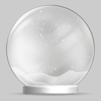 Globo di neve su sfondo trasparente. illustrazione.