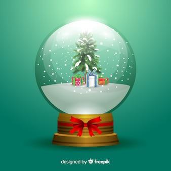 Globo di palla di neve di natale con doni