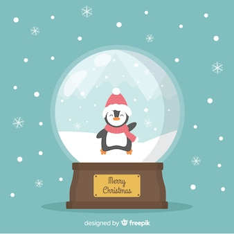 Globo di palla di neve di natale in design piatto