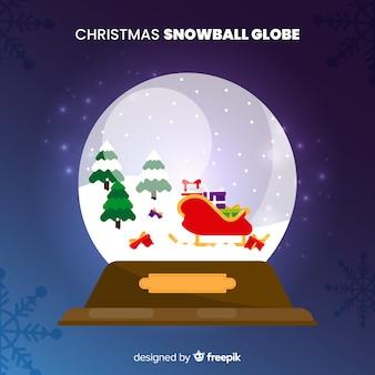 Globo di palla di neve di natale in stile piano