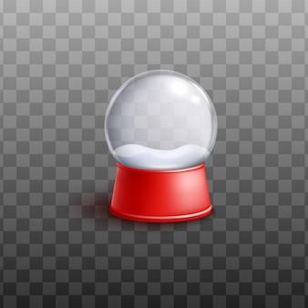 Globo di vetro della neve con cumulo di neve dentro l'illustrazione realistica di vettore 3d isolata. buon natale e felice anno nuovo palla di neve per il design delle vacanze.