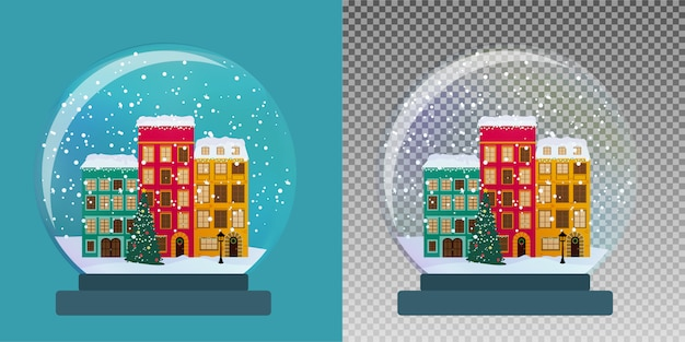 Globo di vetro di neve con piccola città in inverno per il regalo di natale e capodanno.