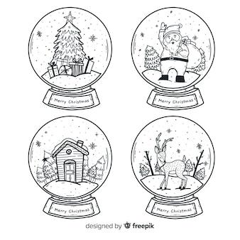 Globo disegnato a mano palla di neve di natale