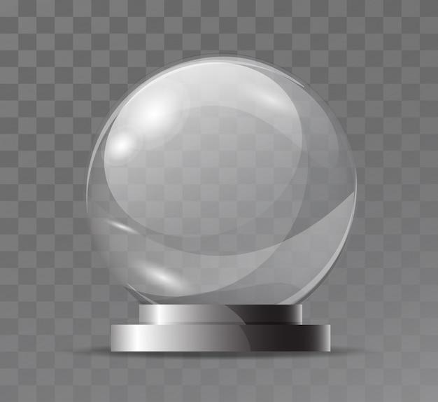 Globo in cristallo trasparente di vetro. attributo magico. sfera di vetro vuota. stand per un souvenir, trofeo.