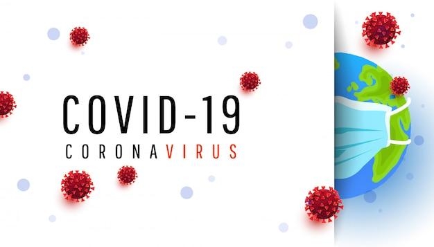 Globo in una mascherina medica protettiva su priorità bassa bianca. coveid 19 attacco di virus a tutto il mondo.