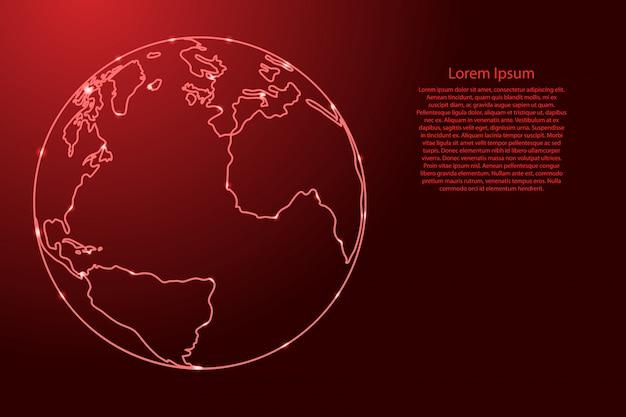 Globo pianeta terra con i continenti dell'atlantico, america, africa dalla rete di contorni rosso, stelle spaziali luminose.