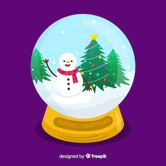Globo piatto della palla di neve di natale con il pupazzo di neve e l'albero