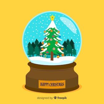 Globo piatto palla di neve di natale con albero