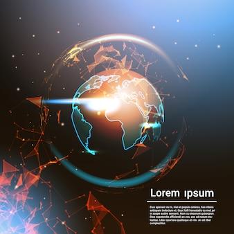 Globo poligonale della terra che emette luce sulla mappa di mondo geometrica del poli basso del fondo del modello