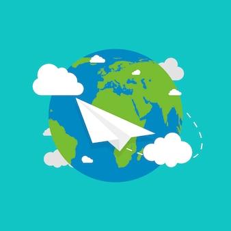 Globo terrestre con aereo. terra in stile piatto. aereo in volo. terra. illustrazione vettoriale