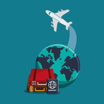Globo terrestre e icone relative al viaggio