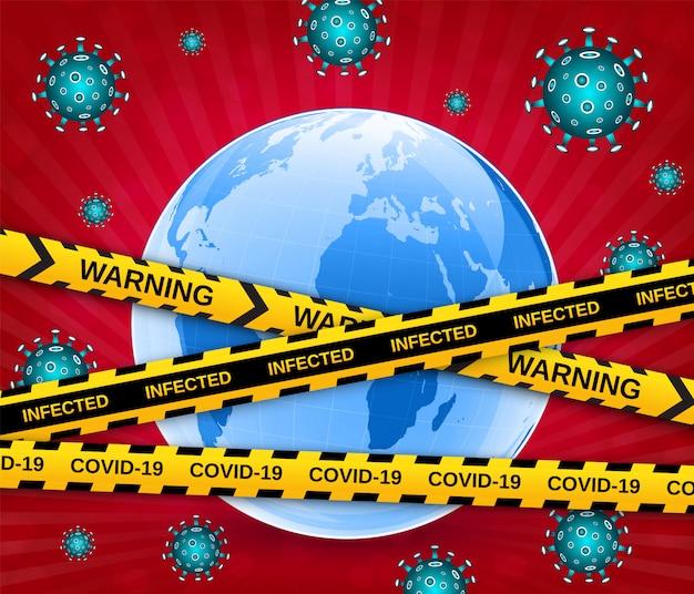 Globo terrestre in una maschera medica con virus e nastri di barriera cautela. scoppio pericoloso di coronavirus covid-19 pandemico. illustrazione vettoriale