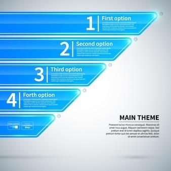Glossy infografica blu con le schede