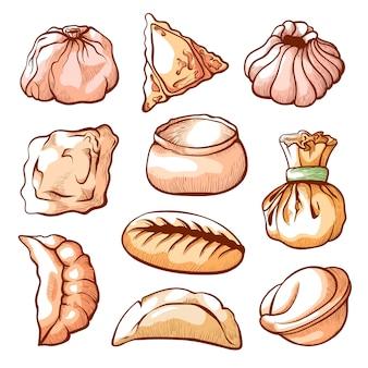 Gnocco, insieme disegnato a mano dell'alimento del cinese tradizionale