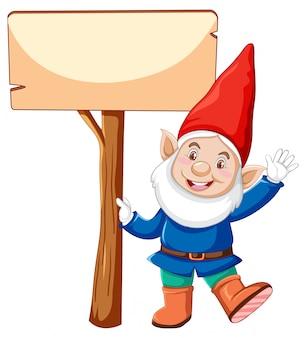 Gnome che tiene insegna in bianco nel personaggio dei cartoni animati su fondo bianco