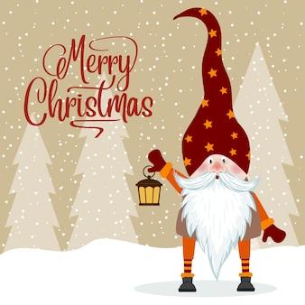 Gnome e la sua lanterna. biglietto natalizio. design piatto.