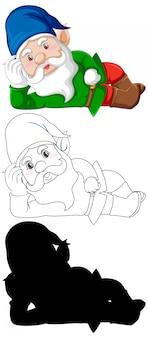 Gnome in costume gerdener a colori e contorni e silhouette in personaggio dei cartoni animati su sfondo bianco