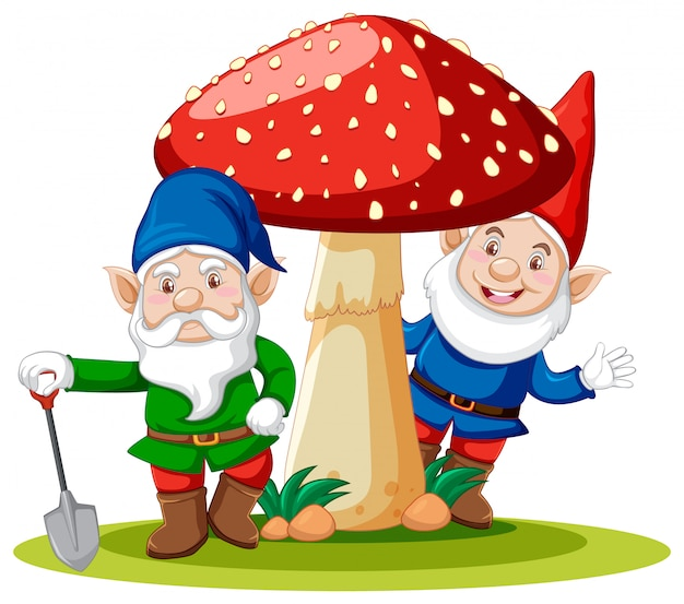 Gnomi che stanno con il personaggio dei cartoni animati del fungo su fondo bianco
