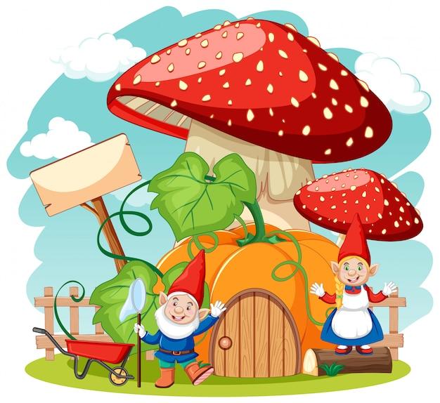 Gnomi e casa dei funghi in stile cartone animato su sfondo bianco