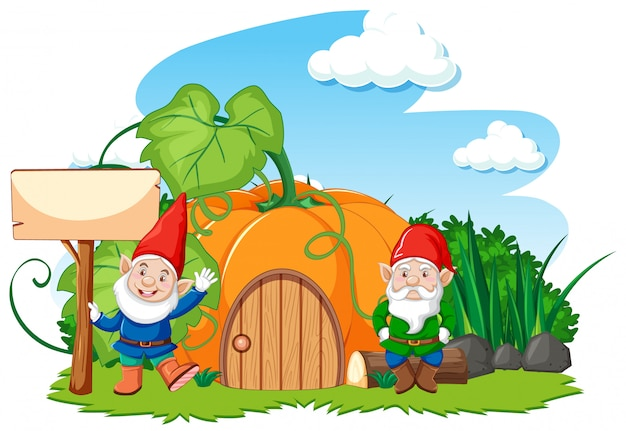 Gnomi e casa di zucca in stile cartone animato su sfondo bianco