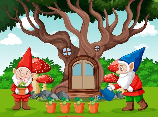 Gnomi e casa sull'albero in stile cartone animato su sfondo giardino
