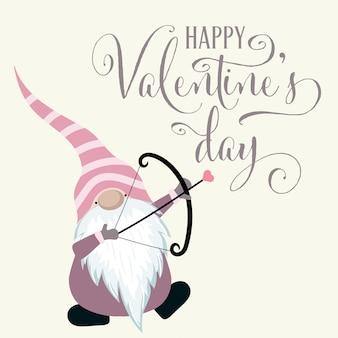 Gnomo con arco di cupido. carta di san valentino