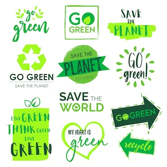 Go green e save the planet badge collection