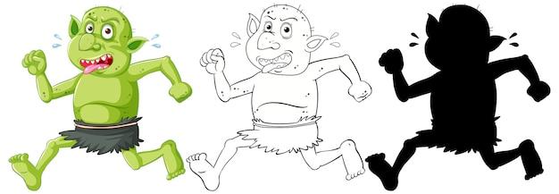 Goblin o troll che tiene a colori e contorno e silhouette in personaggio dei cartoni animati su sfondo bianco