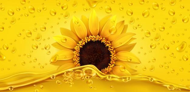 Gocce d'oro. olio di semi di girasole. 3d realistico
