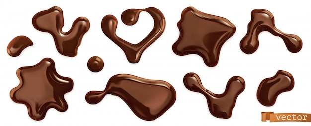 Gocce di cioccolato, set di vettori realistici