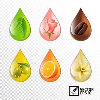 Gocce di olio trasparente realistico 3d con gusto e aroma: tè, rosa, caffè, oliva, arancia, vaniglia. maglia modificabile fatta a mano