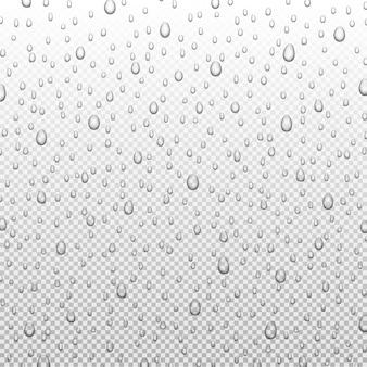 Gocce di pioggia d'acqua o doccia a vapore isolato su sfondo trasparente. goccioline pure realistiche condensate