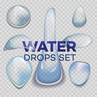Gocce di pioggia d'acqua o doccia a vapore isolato su sfondo trasparente.