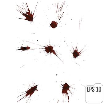Gocce di sangue realistico. spruzzi e spruzzi di sangue.