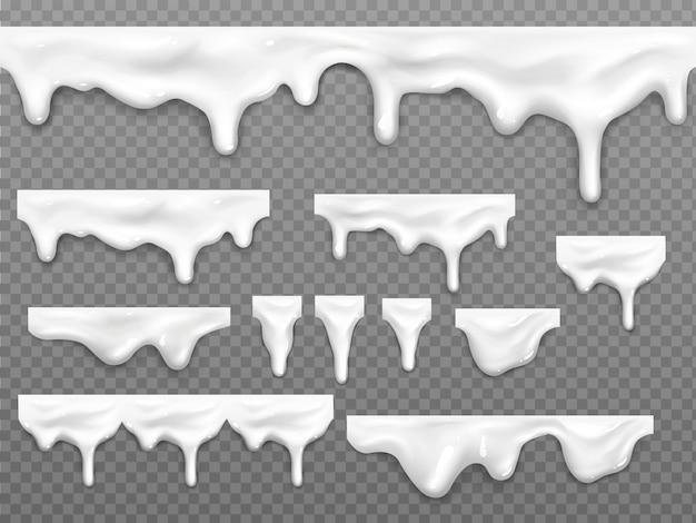 Gocce realistiche di latte gocciolante, liquido bianco fuso