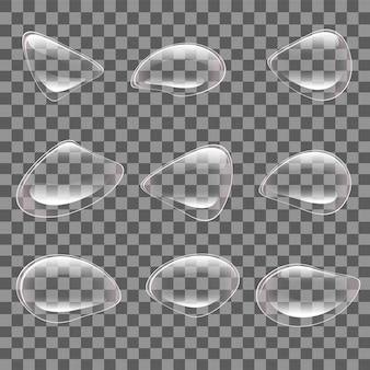 Gocce trasparenti di vettore. un insieme di bolle di diverse forme