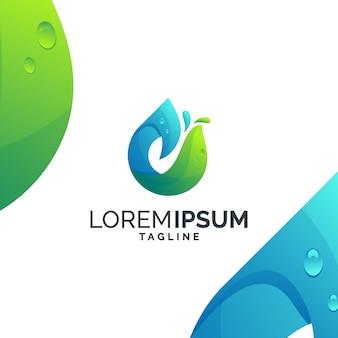 Goccia d'acqua astratta logo premium