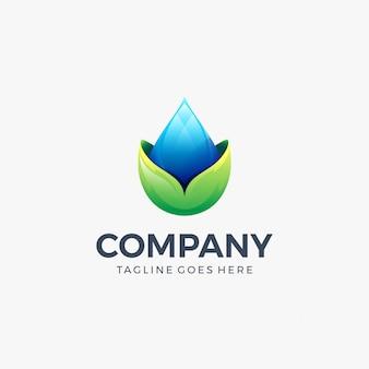 Goccia d'acqua lascia icona logo modello di progettazione