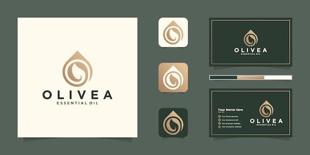 Goccia d'acqua / logo color oro olio d'oliva e biglietto da visita ispirazione