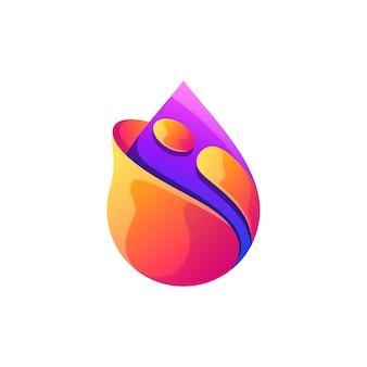 Goccia d'acqua logo design a colori