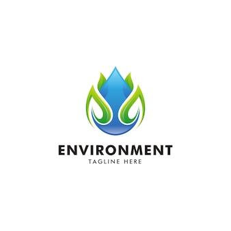 Goccia d'acqua moderna e logo foglia verde
