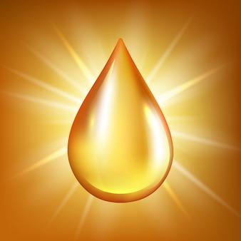 Goccia d'olio. l'acqua o il liquido organici liquidi trasparenti dell'oro spruzza sul fondo lucido di riflessione