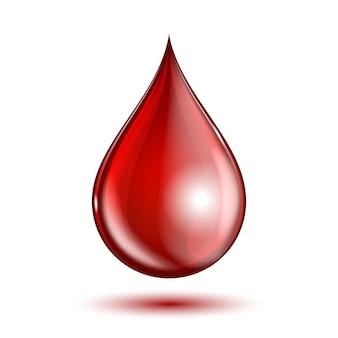 Goccia del sangue isolata su bianco.