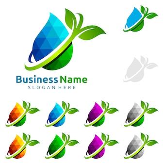 Goccia dell'acqua blu con progettazione di logo di vettore di ecologia di foglia verde