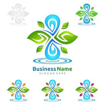 Goccia di acqua blu con disegno di marchio di vettore di ecologia di foglie verdi