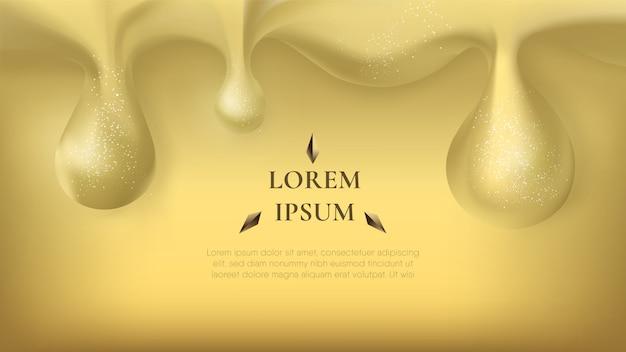 Goccia di fusione dorata astratta con luccica su fondo oro.